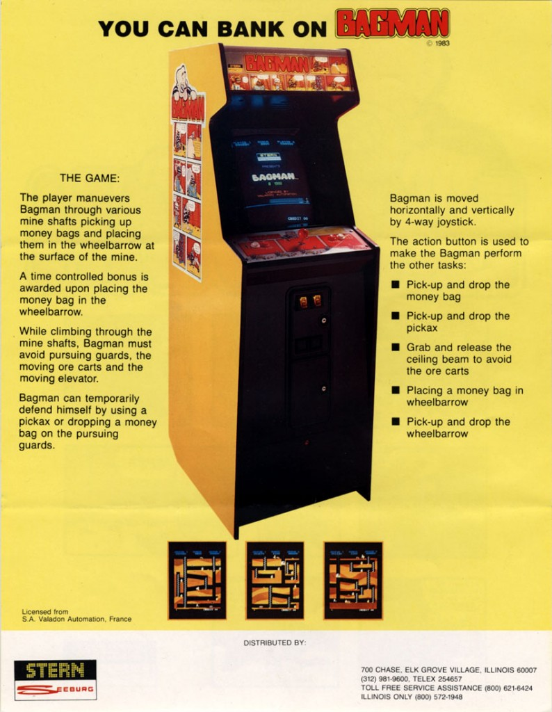Flyer for Bagman, an arcade video game