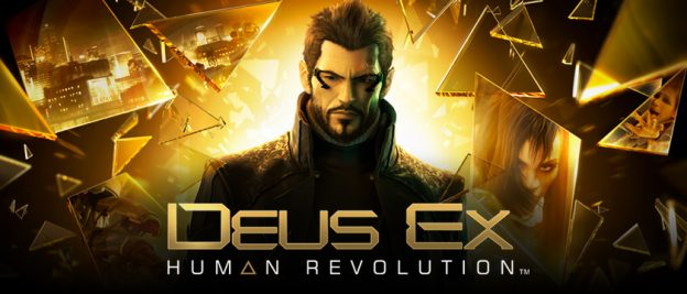 Deux Ex Human Revolution title screen, an FPS video game