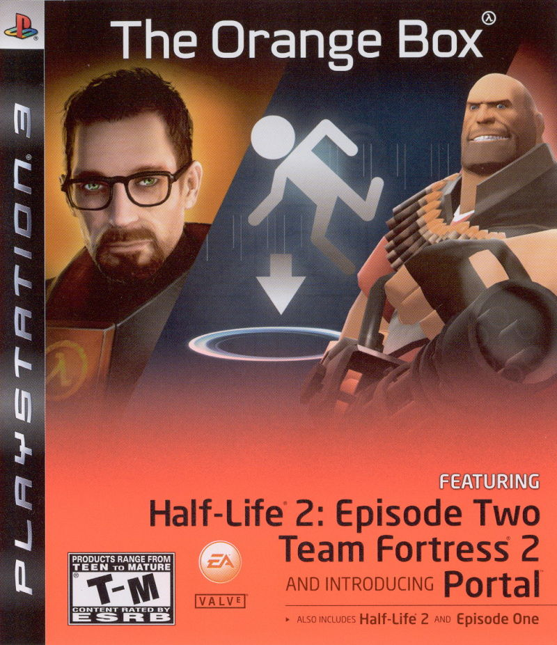 Orange Box, containing video games Half-Life, DLC, Team Fortress 2 and Portal