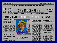 Screen from Paperboy, a video game by Atari