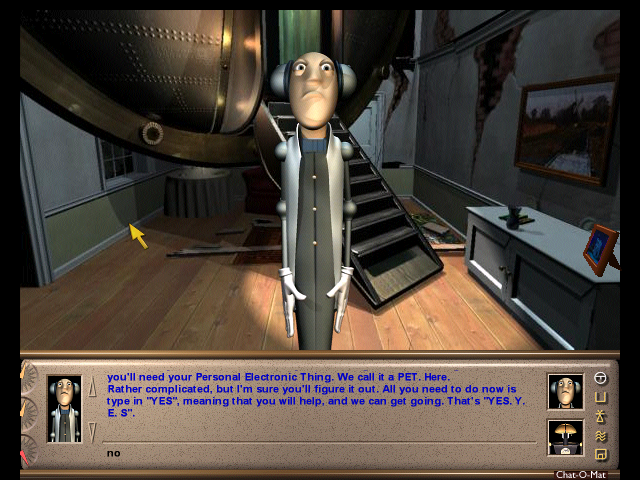 Screen from Starship Titanic, a computer video game by Douglas Adams