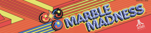 Marquee for Marble Madness, an arcade video game by Atari and Mark Cerney
