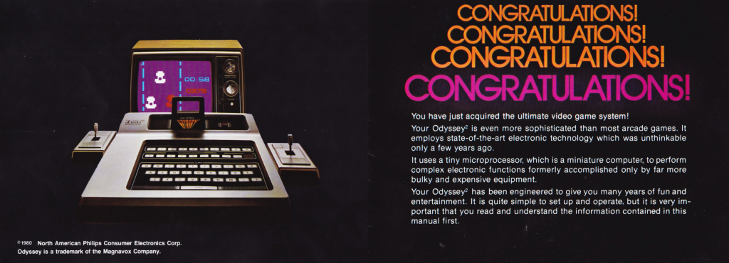 Pages from the manual of the Odyssey 2, a video game system by Magnavox