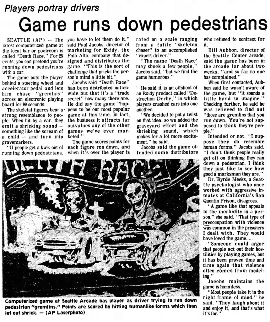 News wire article that started the videogame violence controversy over arcade video game Death Race, by Exidy
