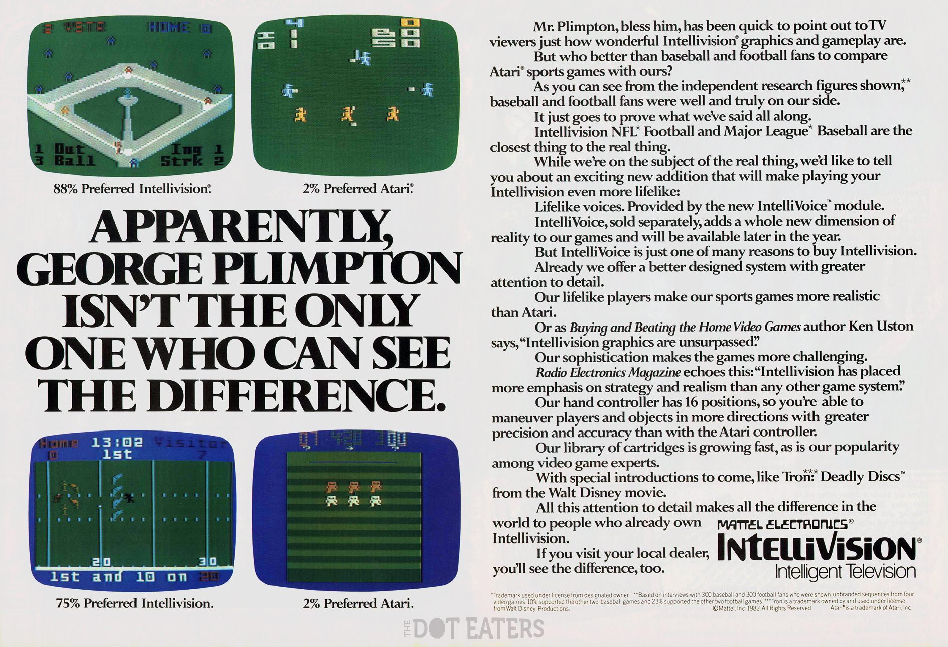 A 1982 ad for the Intellivision, a home video game console by Mattel