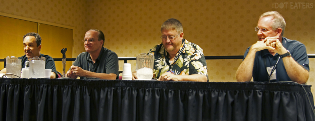 Activision panel at CGE 2014 in Las Vegas. Left to right, you have Adam Bellin (ported Zenji to the C64, programmer on Ghostbusters), Garry Kitchen (Keystone Kapers), David Crane (Dragster, Fishing Derby, Laser Blast, Freeway, Pitfall!, Grand Prix, Decathlon, Pitfall II, Ghostbusters, Little Computer People, The Transformers: Battle to Save the Earth) and Steve Cartwright (Megamania, Seaquest, Plaque Attack, Frostbite, Hacker, Hacker II: The Doomsday Papers, Aliens: The Computer Game, Gee Bee Air Rally)