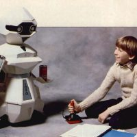 Topo, a household robot by Androbot, started by Nolan Bushnell, founder of the Atari video game company