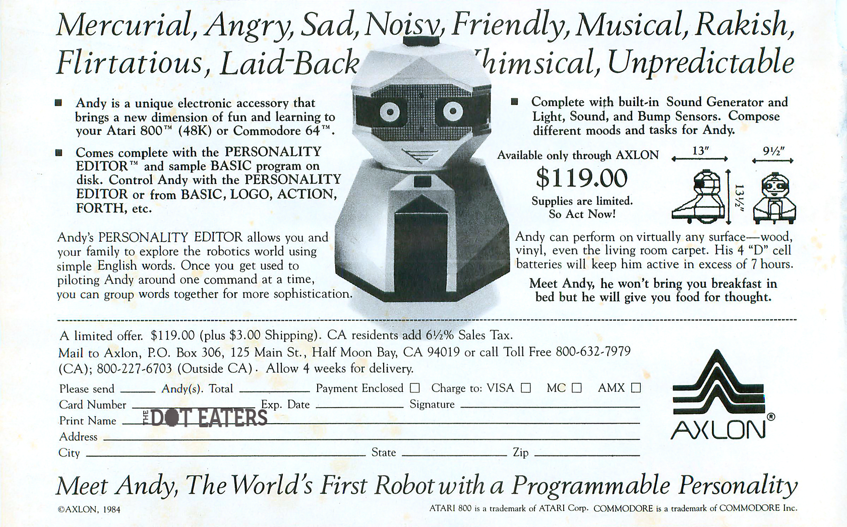 A magazine ad for Andy, a home robot by Nolan Bushnell's company Axlon, 1985