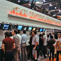 Jan 1984 CES booth for Atari, a video game company