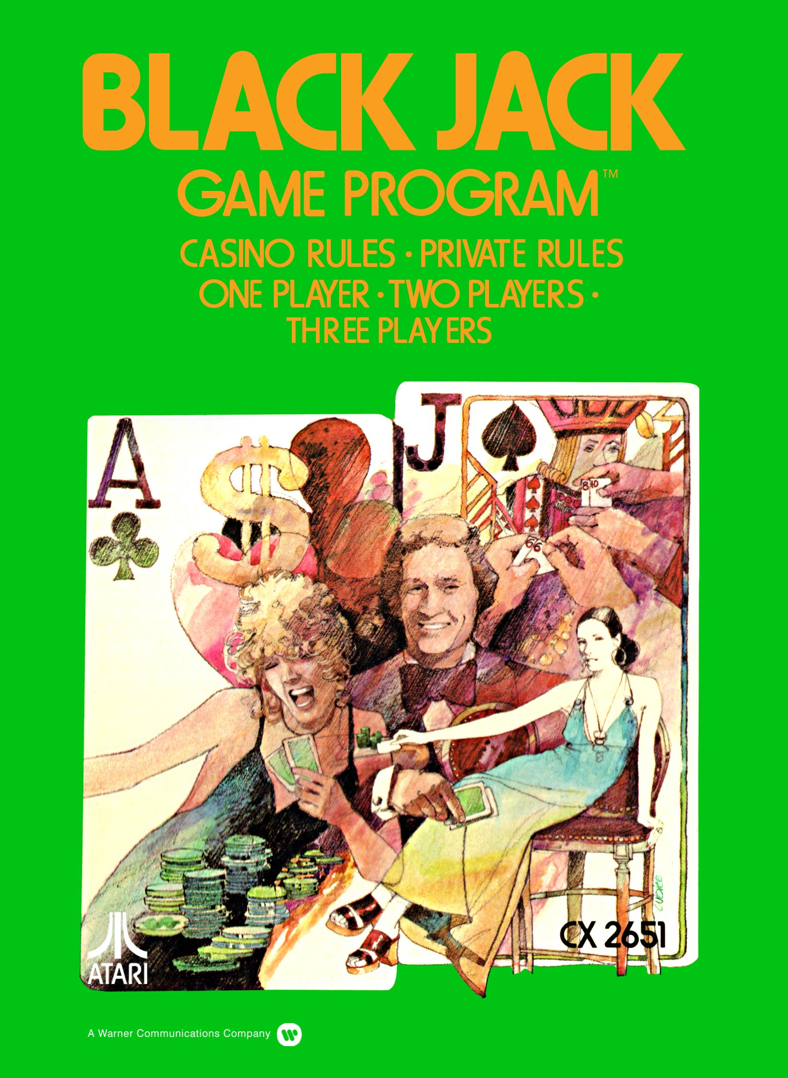 Blackjack, a gambling home video game for the Atari VCS game console