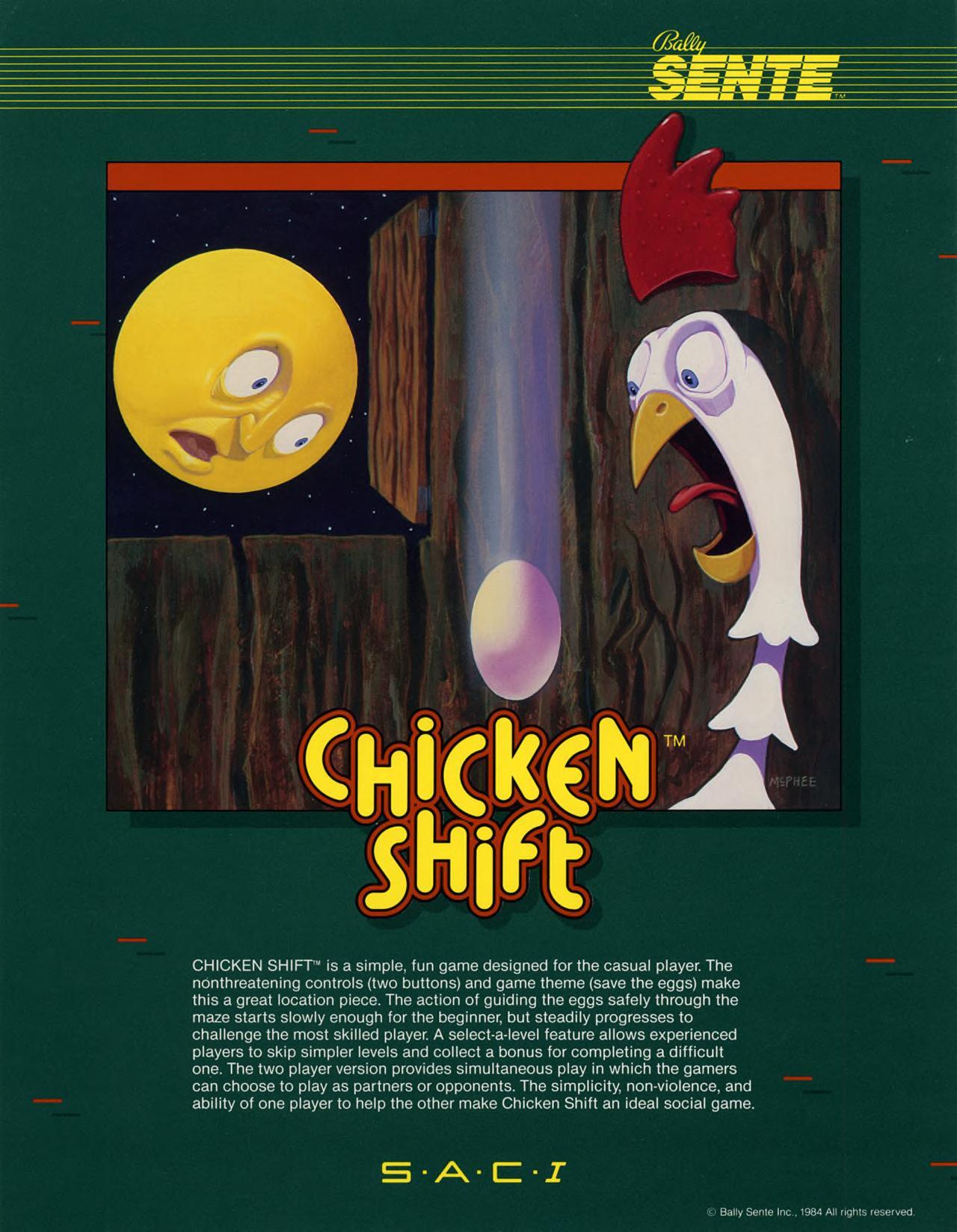Chicken Shift, an arcade video game by Bally/Sente