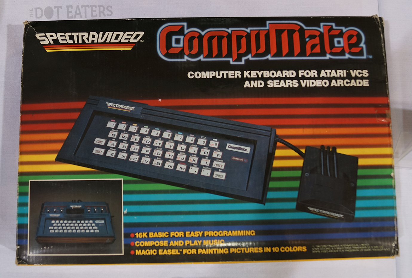 Box for CompuMate, a keyboard/computer add-on for the Atari 2600 home video game system, 1983