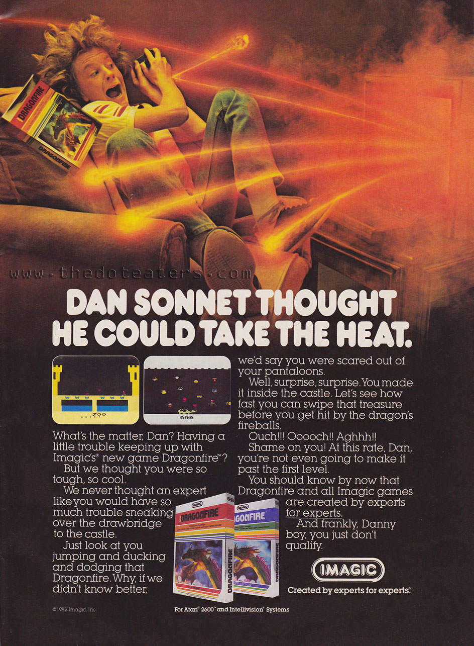 Ad for Dragonfire, a home video game by Imagic 1982