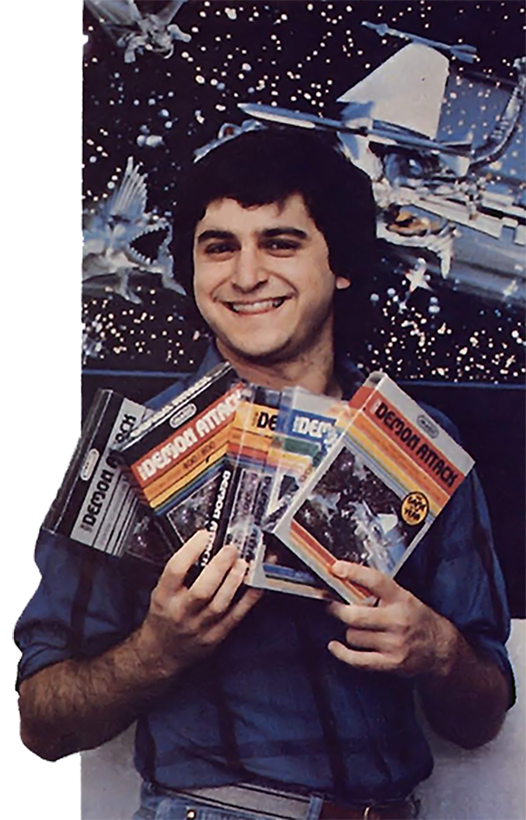 Video game designer Rob Fulop, with his Imagic software, 1983