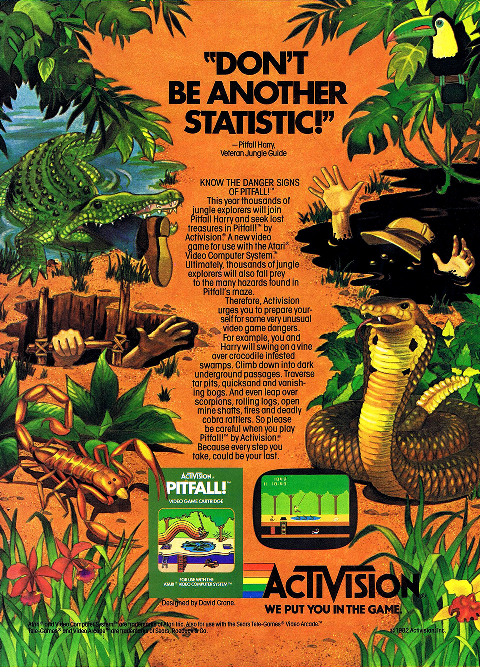 Ad for Pitfall!, a home video game by Activision 1982