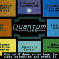 Main menu for QuantumLink, an online service for the Commodore 64, 1985