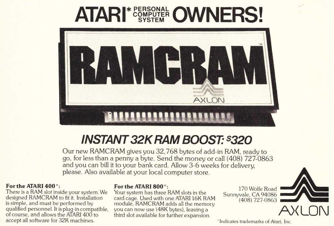 RAMCRAM, a memory booster for the Atari 8-bit computer systems