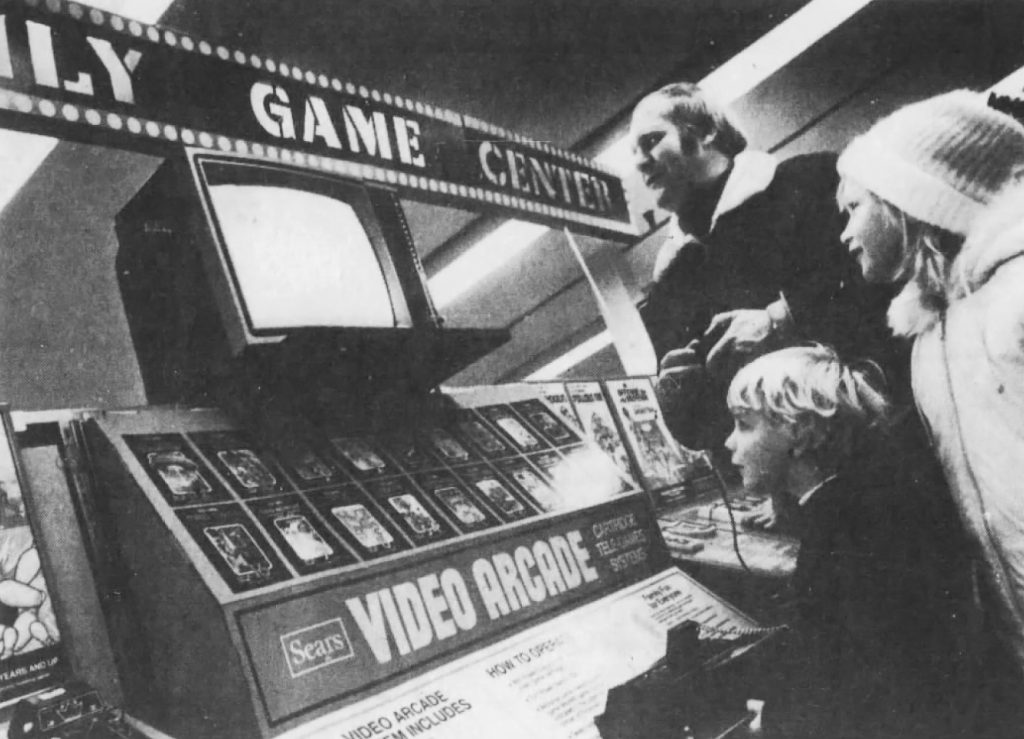retail display for the Sears Video Arcade, their version of the Atari VCS video game system