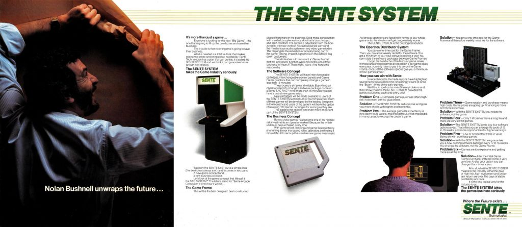 Ad for Sente arcade game system, by Nolan Bushnell