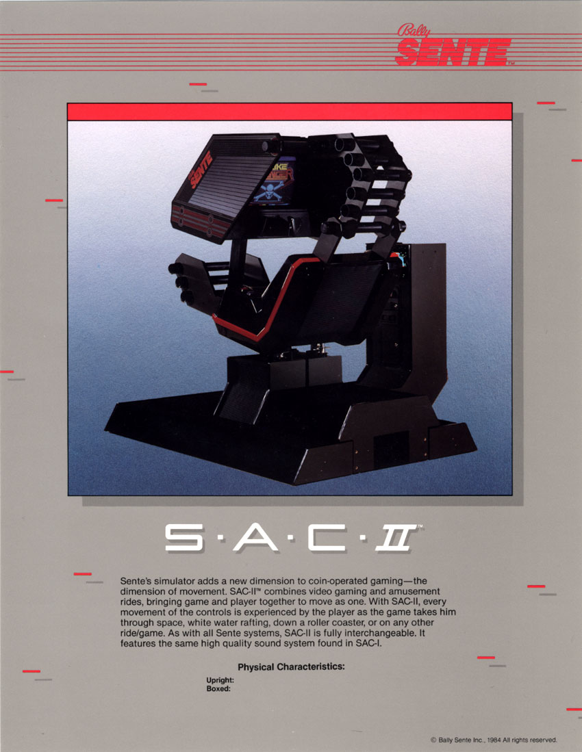 Shrike Avenger, an arcade motion control video game by Bally Sente