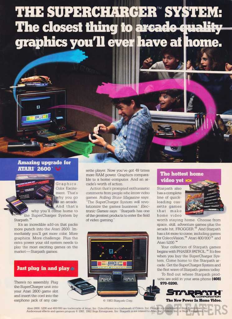 Ad for the SuperCharger, an add-on for the home video console 2600, by Atari 1983