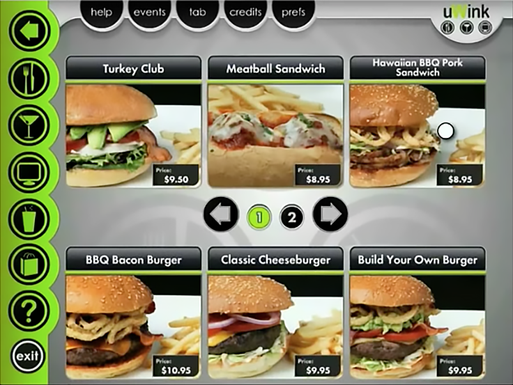 The UI for ordering food at uWink, a restaurant concept by Atari founder Nolan Bushnell