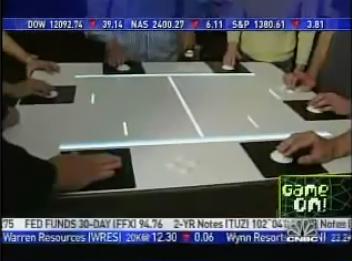 6-player PONG game featured at uWink restaurants, founded by Atari creator Nolan Bushnell