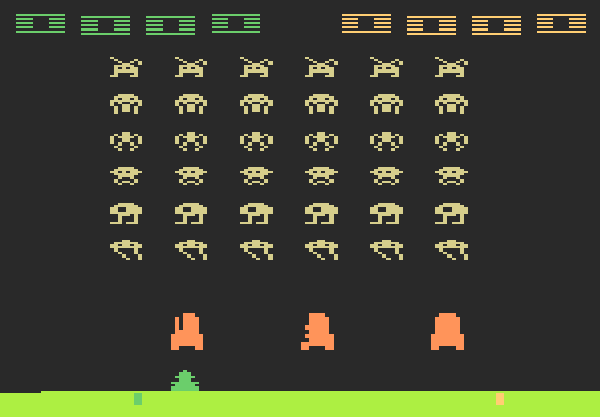 Screenshot of Space Invaders, a video game for the Atari VCS/2600 1980