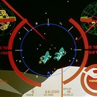 Still of game graphics from The Last Starfighter, a video game themed movie by Universal 1984