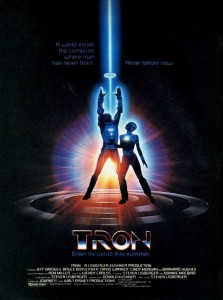 Poster for TRON, a video game themed movie by Disney 1982