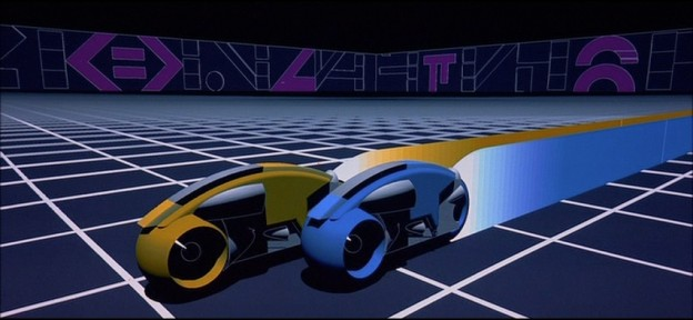 A still of a light-cycle sequence from Tron.