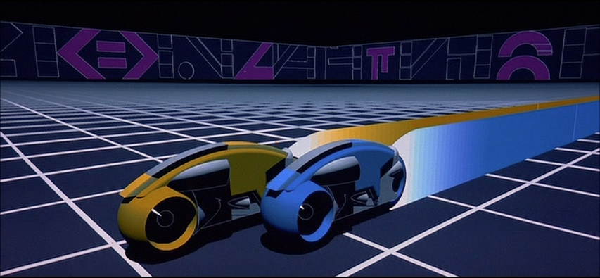 Still of lightcycles in battle from Tron, a video game themed movie from Disney 1982