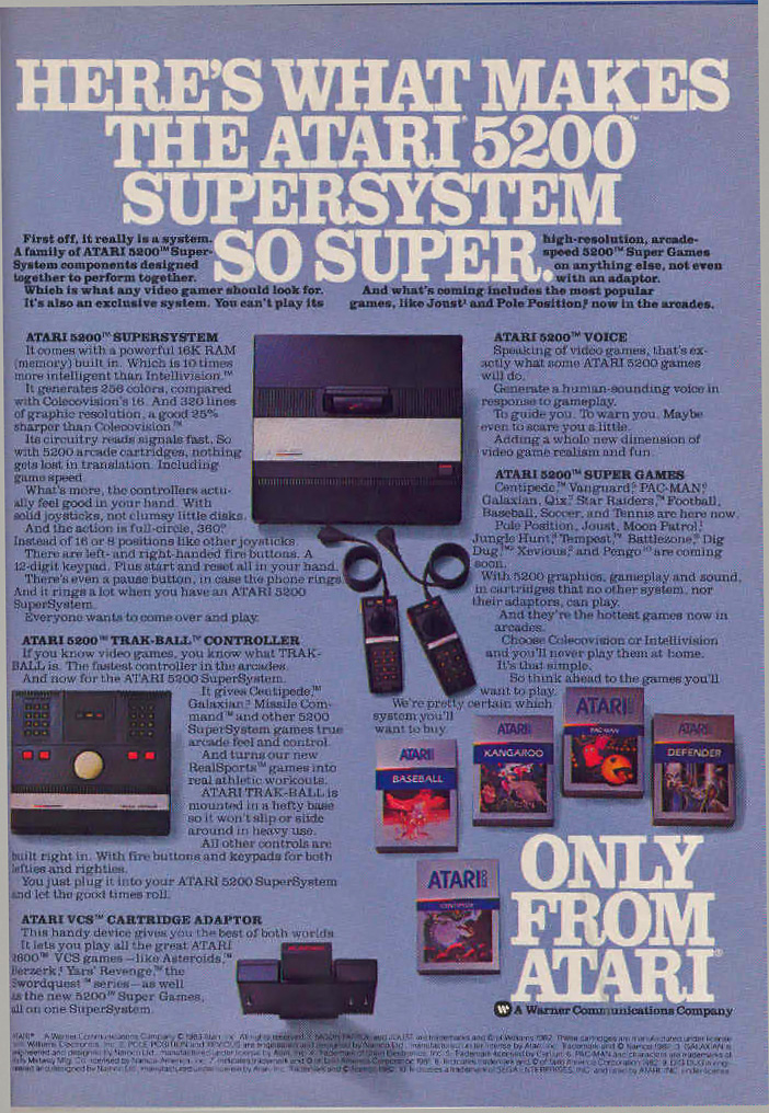 Image of a magazine ad for the 5200, a video game system by Atari 1982