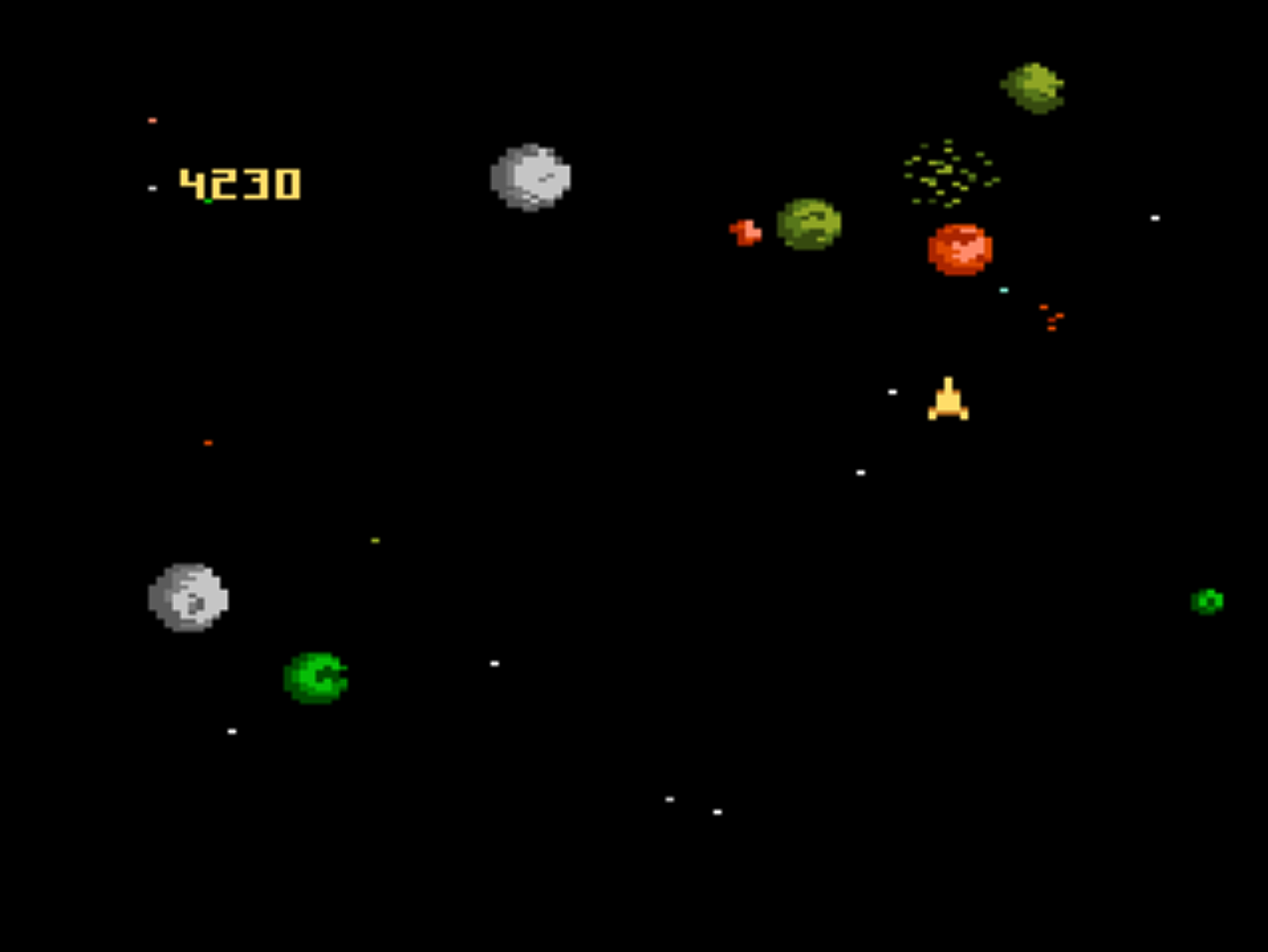 Snap of Asteroids, a home video game for the 7800 by Atari 1987