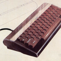 Image of a sketch of the 7800 keyboard, for home video game console the Atari 7800 ProSystem