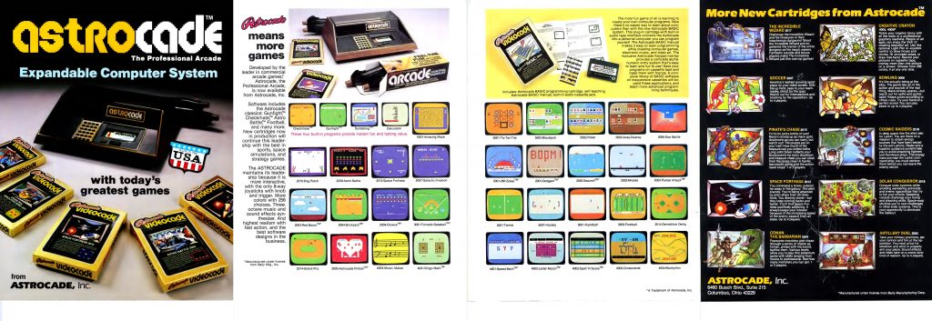 Catalog for the astrocade home video game console