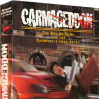 Carmageddon, a racing video game for MS-DOS computers