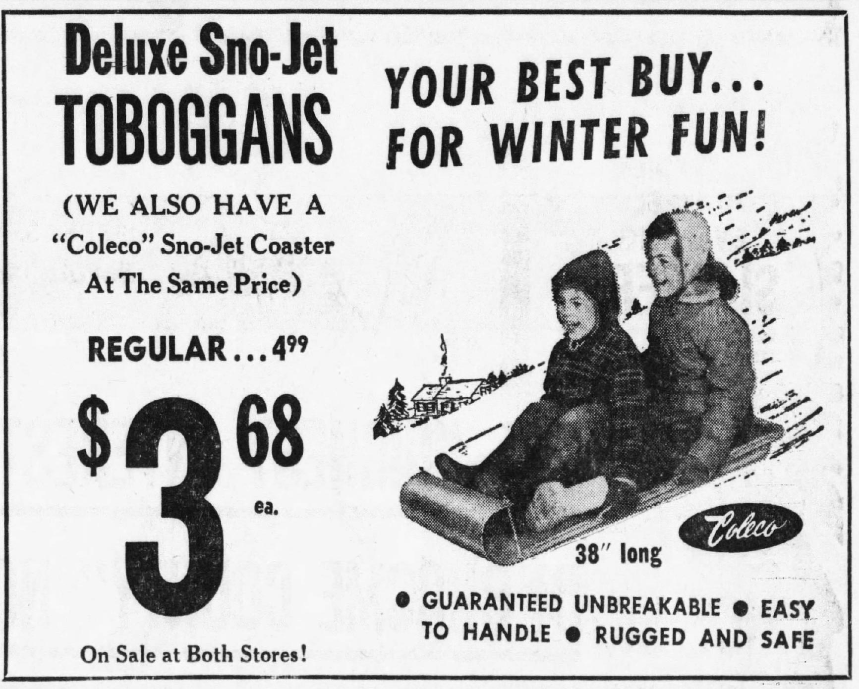 Toboggan ad by Coleco, makers of the ColecoVision home video game console