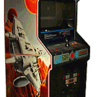 Cabinet for Astron Belt, an arcade laserdisc video game by Sega 1983