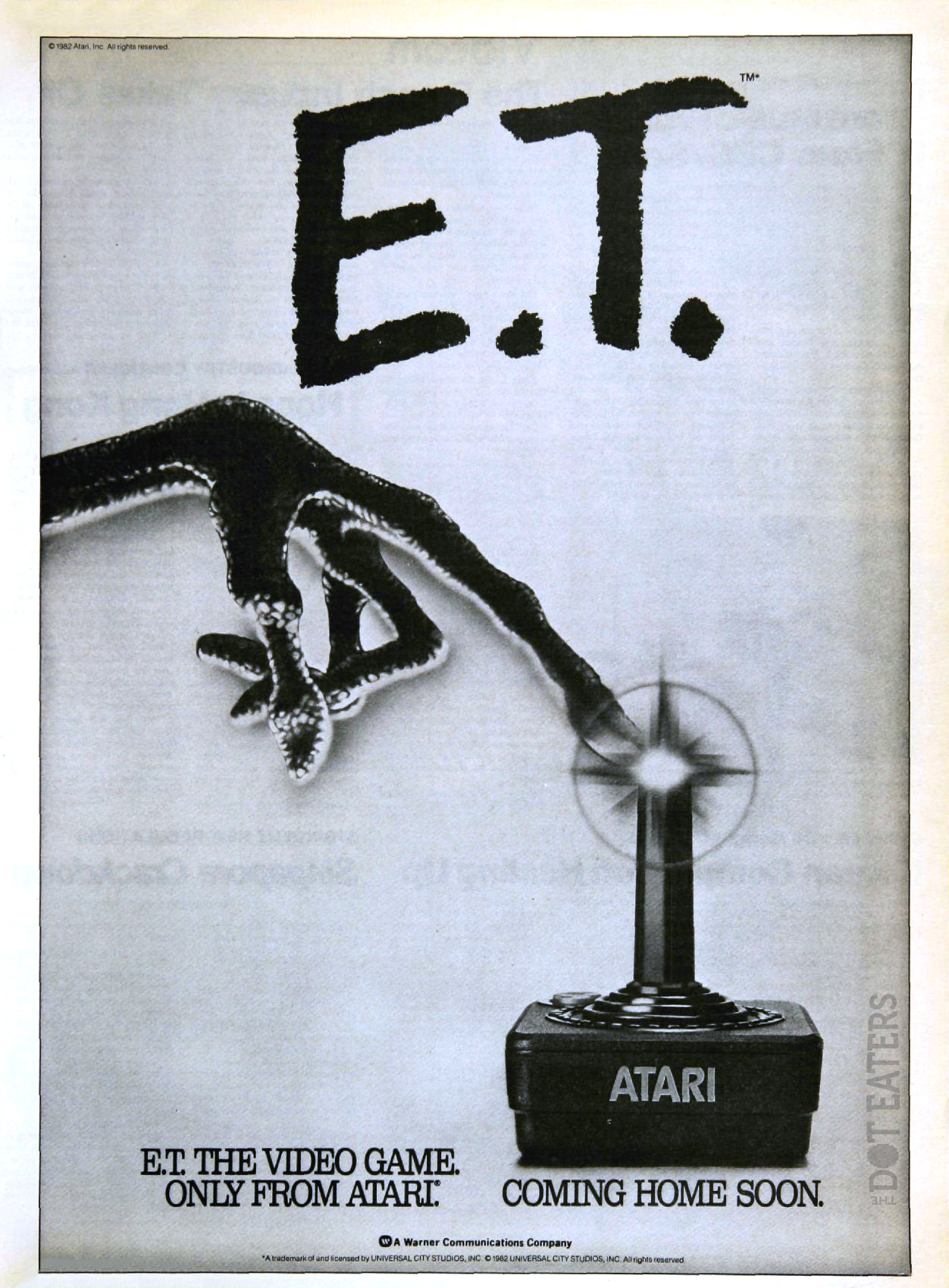Ad for E.T. The Extra-Terrestrial, a home video game for the 2600 by Atari 1982