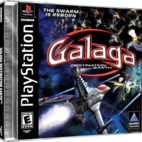 Galaga: Destination Earth, a video game for the Sony Playstation video game system
