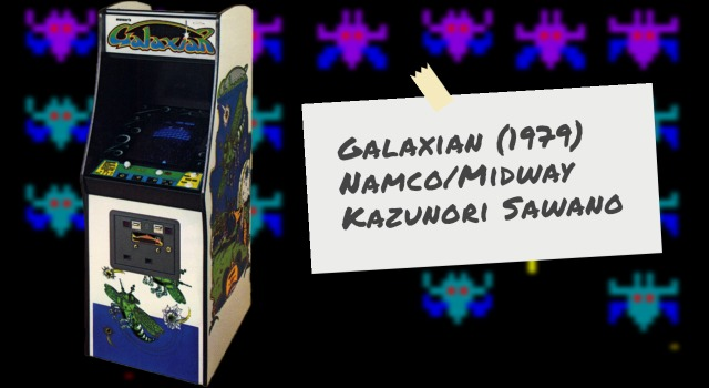 Galaxian arcade video game cabinet and alien graphics