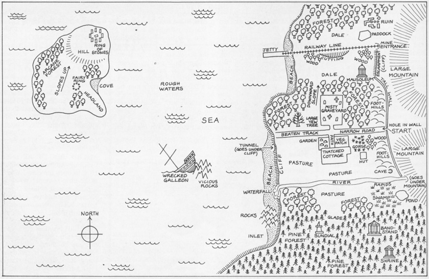 Image of a map showing the world of MUD, original online adventure game, 1984