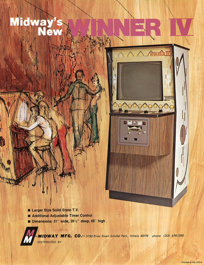 Sales flyer for Winner IV, a coin-op video game by Midway MFG. 1973