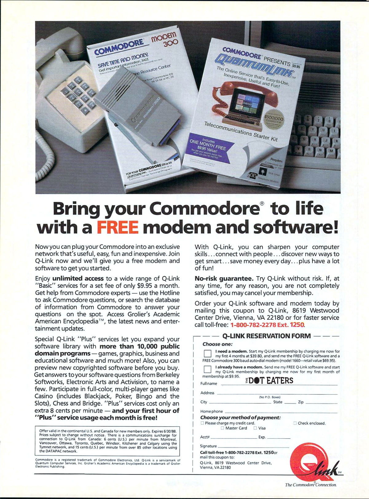 Ad for QuantumLink, an online serivce for the Commodore 64 computer