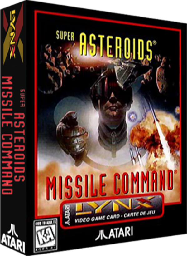 Super Asteroids and Missile Command, a video game for the Atari Lynx portable video game system