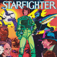Cover of the Marvel comic adaptation of The Last Starfighter, a video game themed movie from Universal 1984