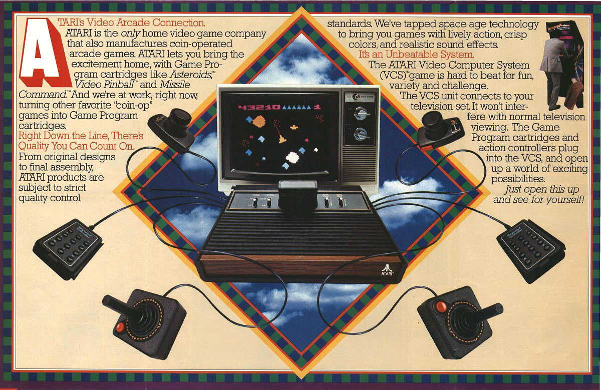Poster of the VCS/2600, a home video game system by Atari 1977