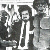 Adventure game creator Scott Adams, with Marvel superheroes Spider-Man and The Incredible Hulk