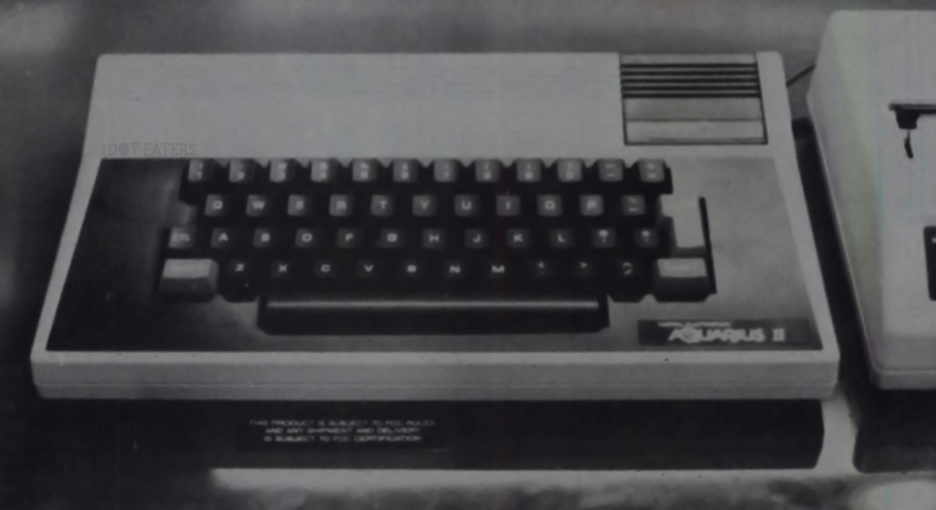 1983 image of Aquarius II, a home computer by video game maker Mattel